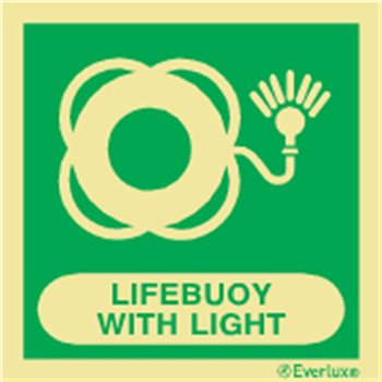 Produktbilde for Lifebuoy with light + symbol 15x15cm vinyl IMO
