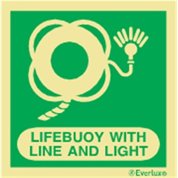 Produktbilde for Lifebuoy with line and light + symbol 15x15cm IMO